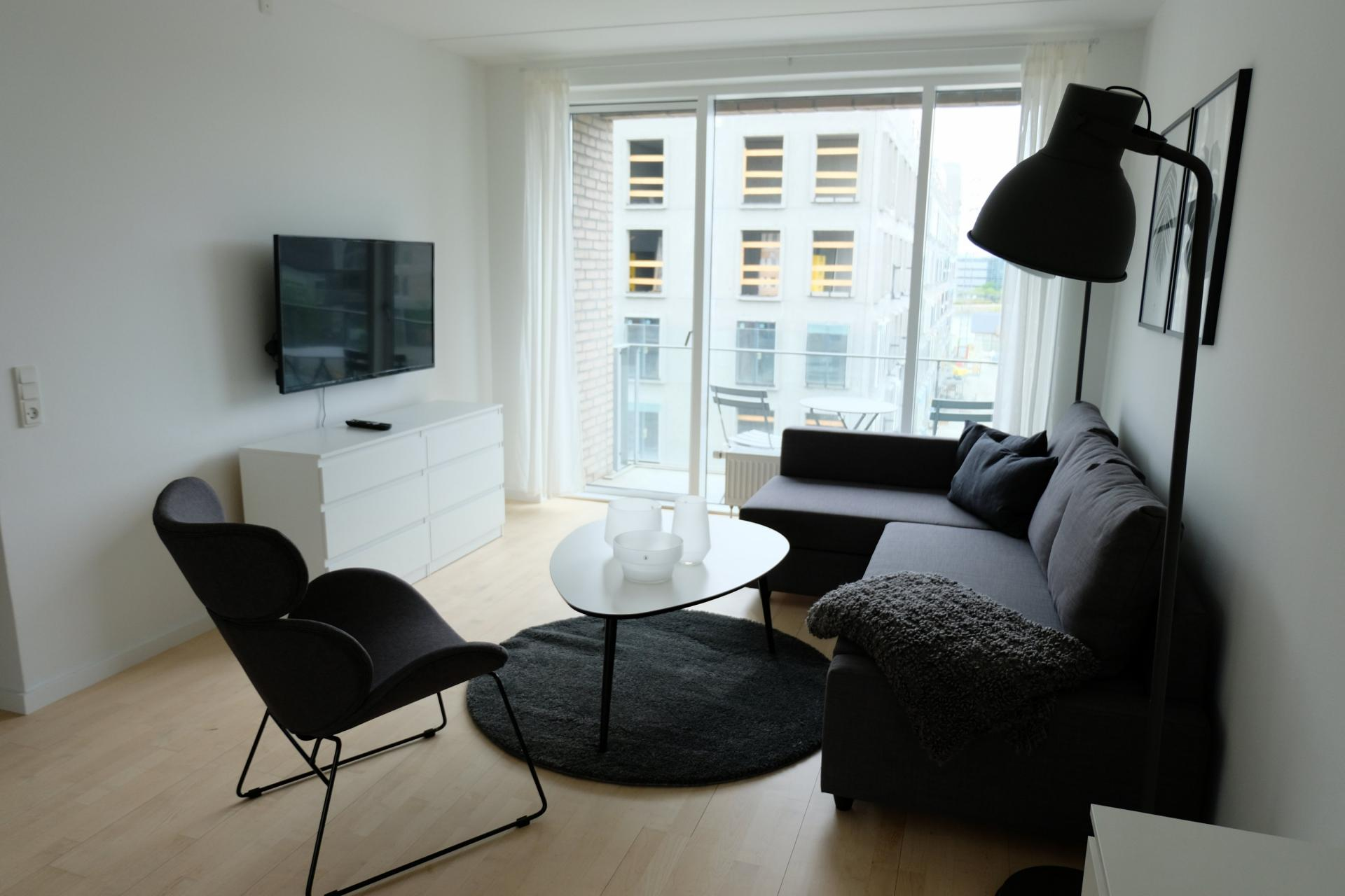 Living area at Sluseholmen Apartment, Sydhavnen, Copenhagen