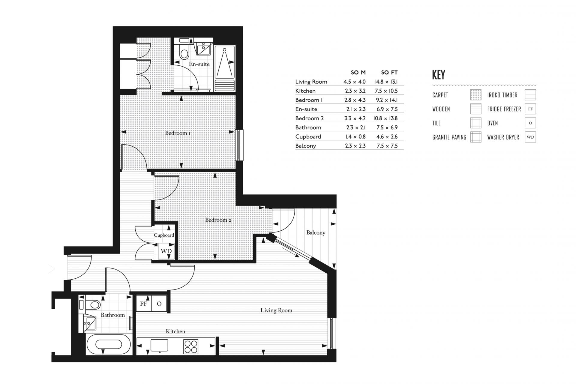 Floor plan at Clapham South 1 Apartment