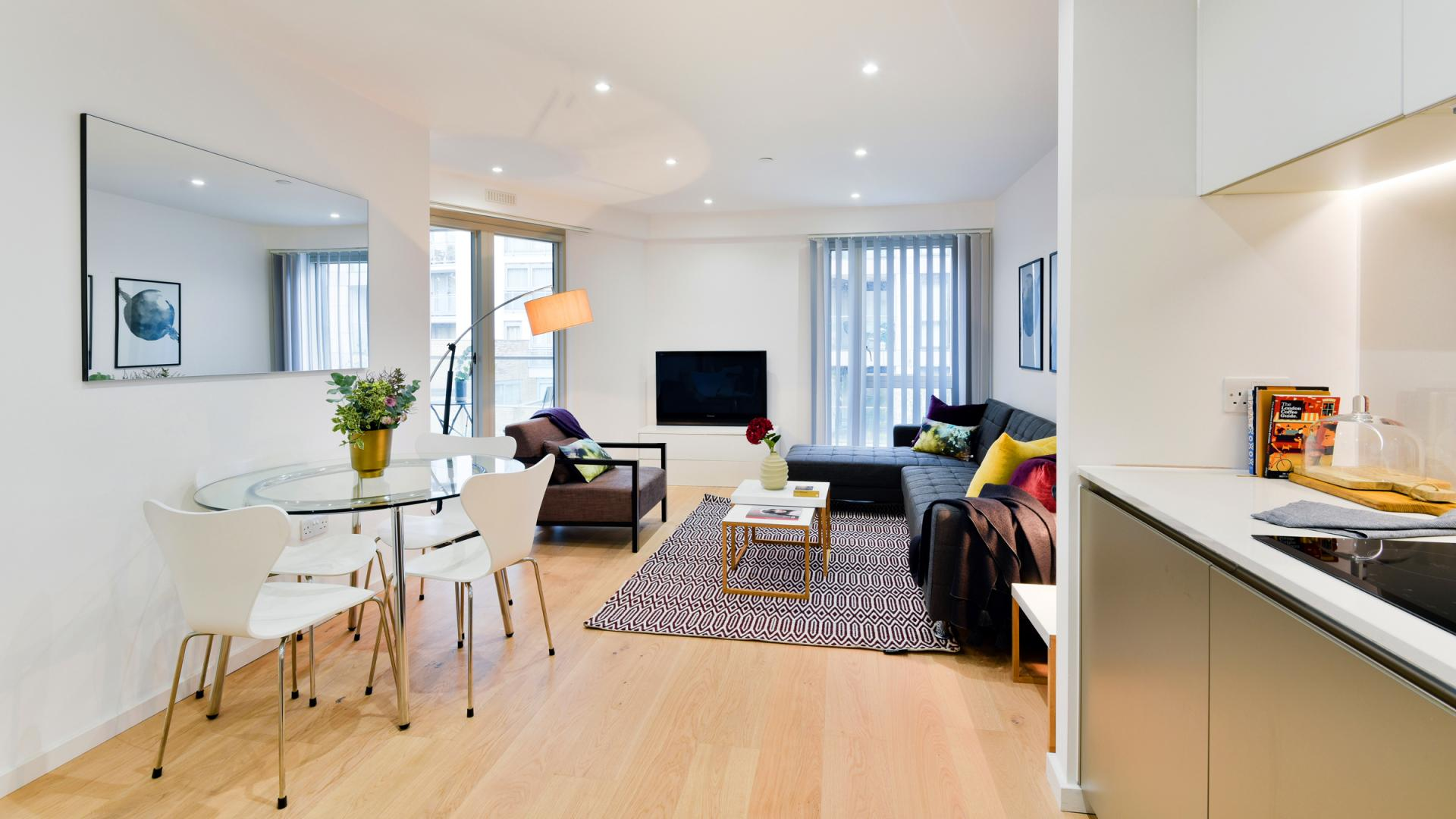 Open-plan kitchen at Clapham South 1 Apartment