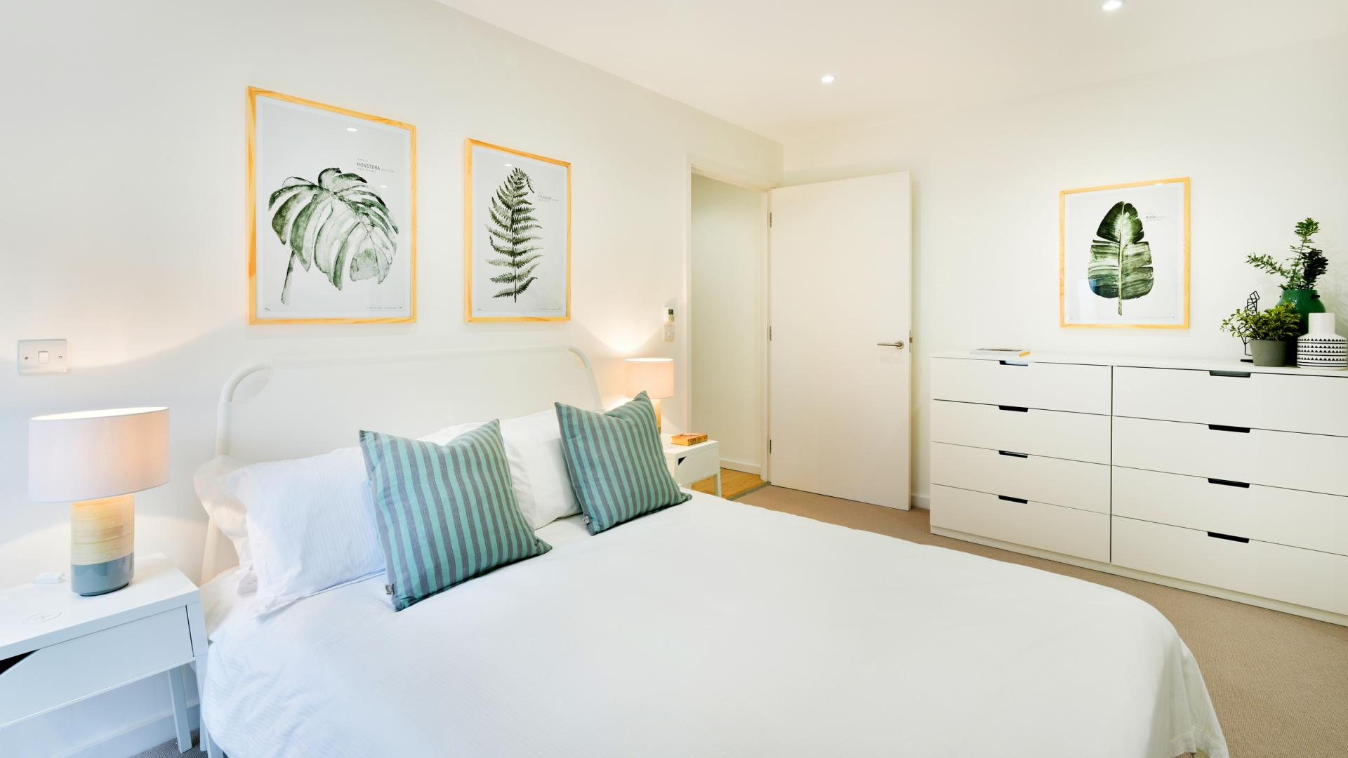 Modern bedroom at Clapham South 1 Apartment