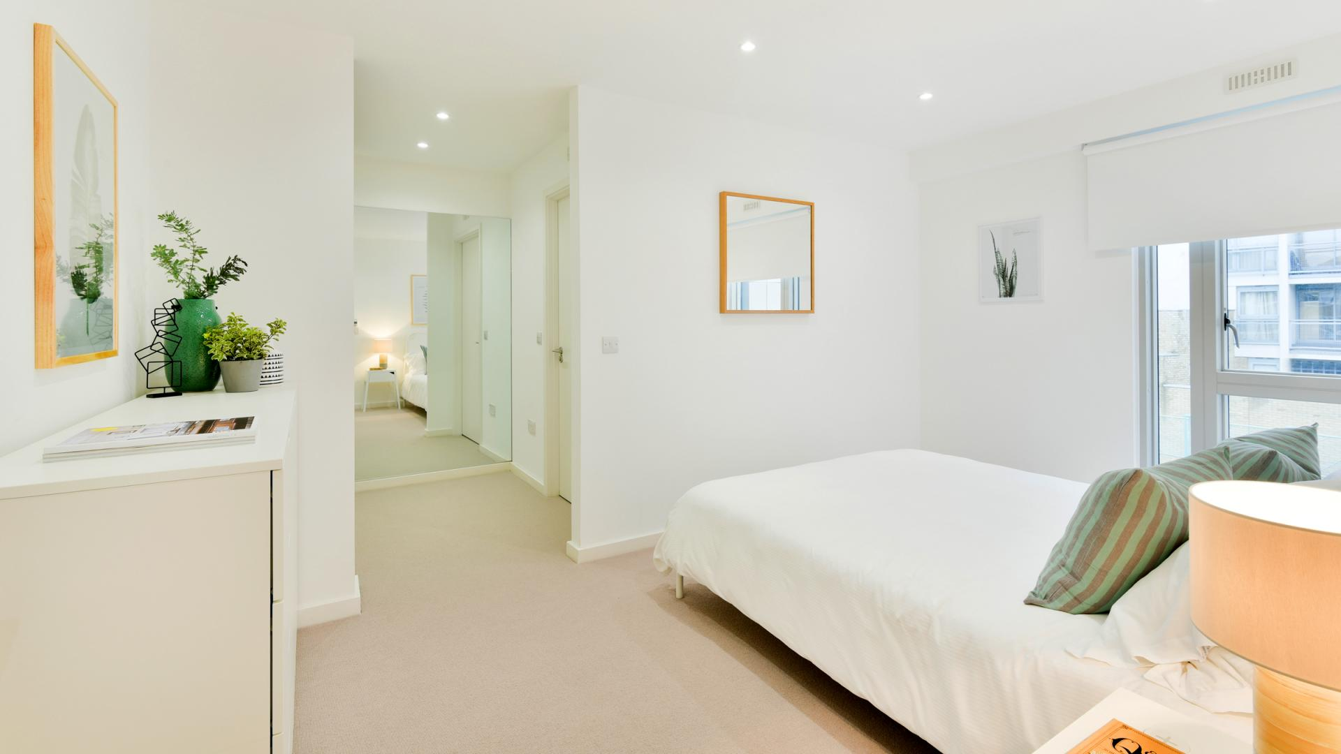 Bright bedroom at Clapham South 1 Apartment