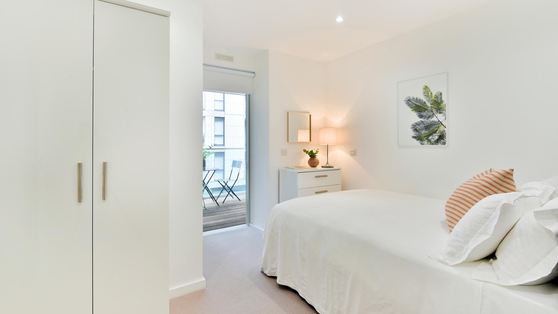 Contemporary bedroom at Clapham South 1 Apartment
