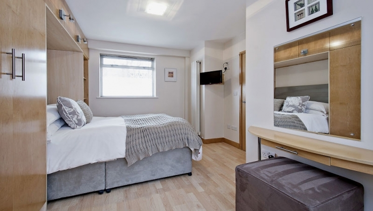 Stylish bedroom in 8 St Christophers Place Apartments