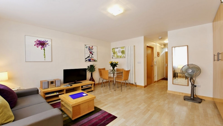 Modern living area in 6-8 St Christophers Place Apartments