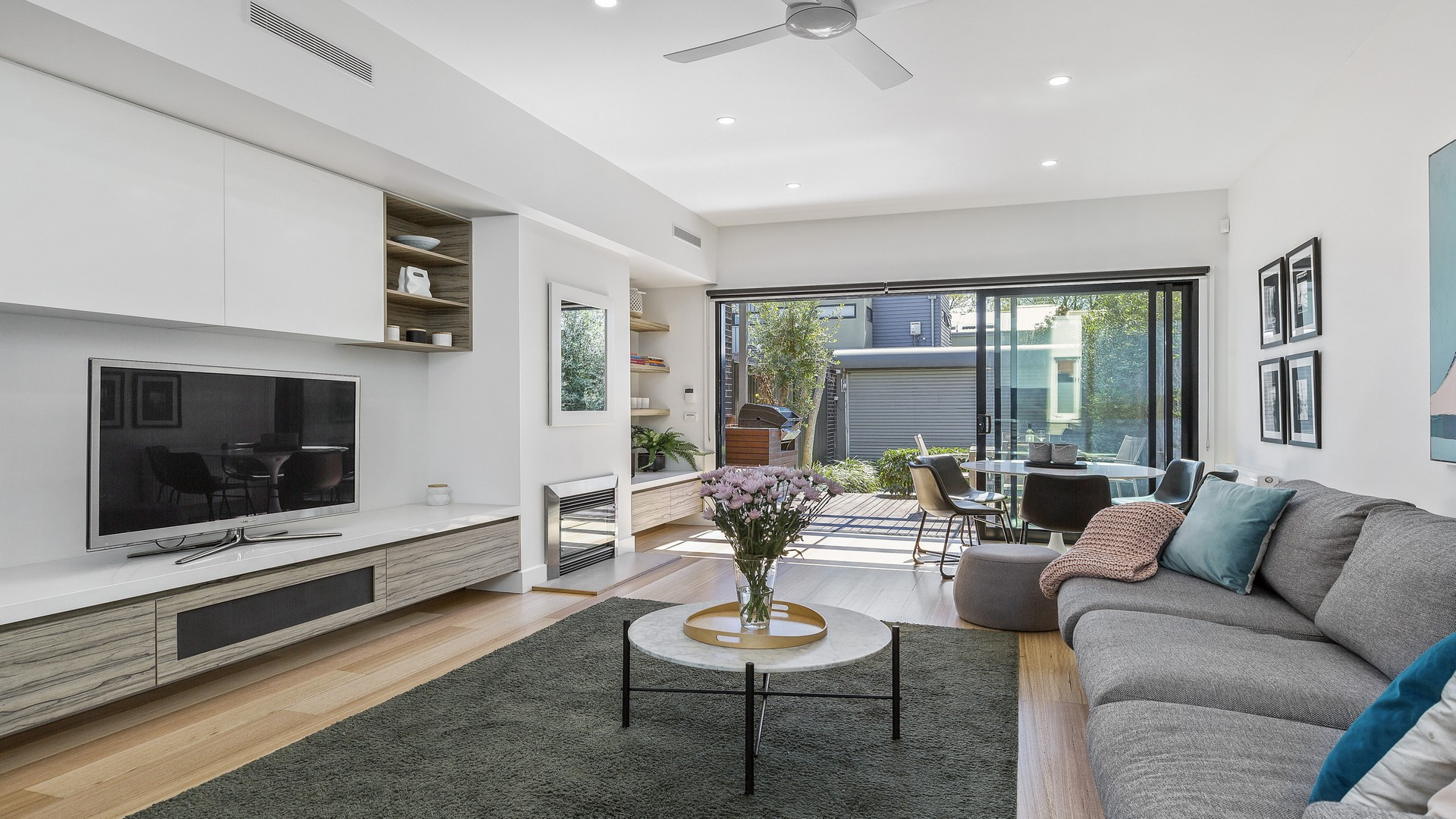 Open-plan living area at Victorian Vogue
