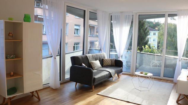 Living area at Montchoisi Apartments