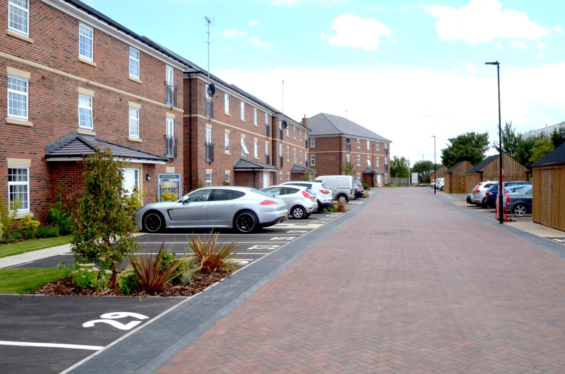 Parking area at Rosso Close Apartments