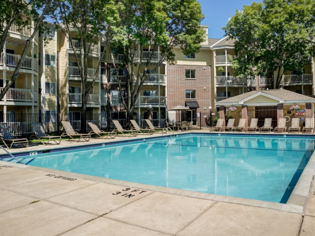 Pool area at City Scape Apartments