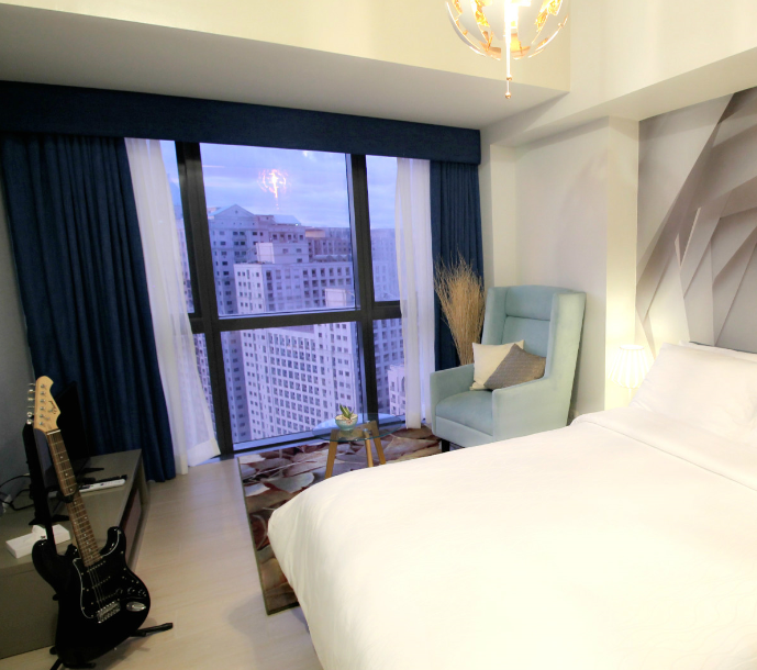 White linen at One Eastwood Avenue Apartments, Bagumbayan, Manila
