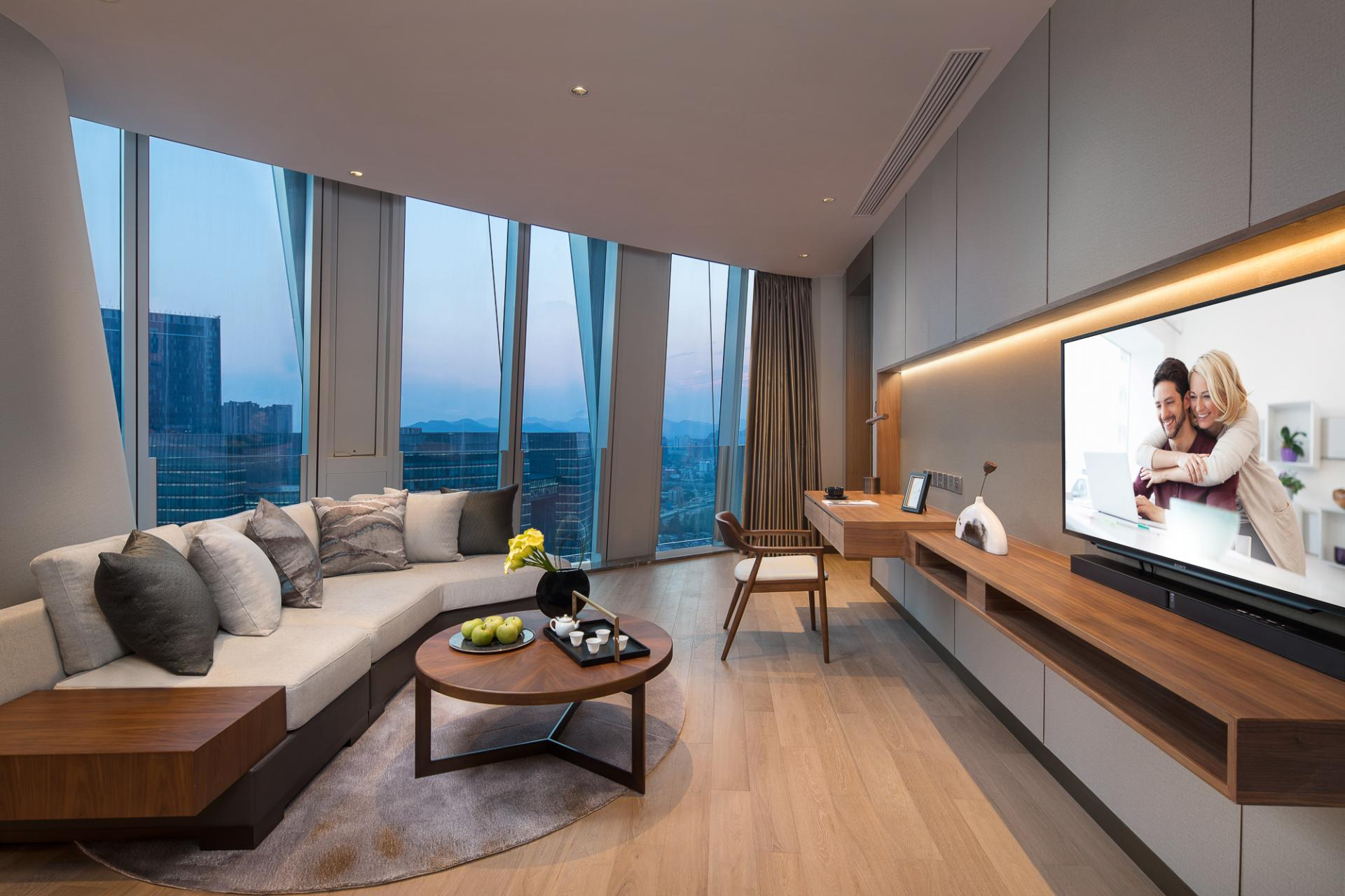 Suite Living Room at Ascott Raffles City Hangzhou Apartment