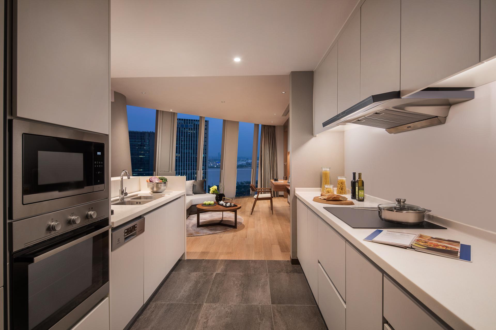 Kitchen at Ascott Raffles City Hangzhou Apartment