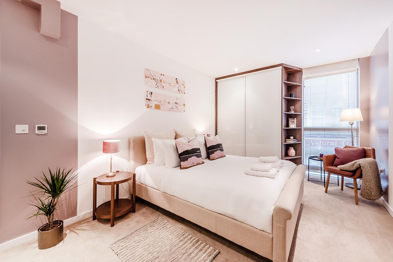 Modern bedroom at Peter Street Apartment