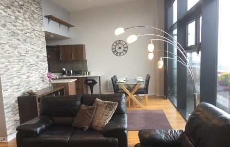 Living room at Exhibition Apartments