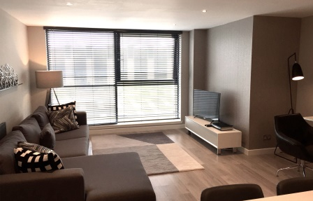 Comfortable living area at Exhibition Apartments