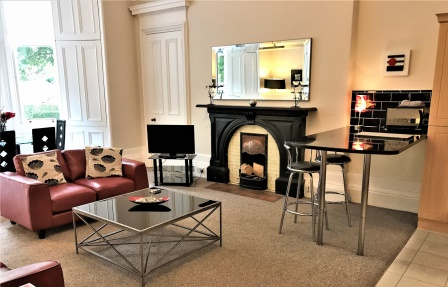 Living space at Rosslyn Terrace Apartment