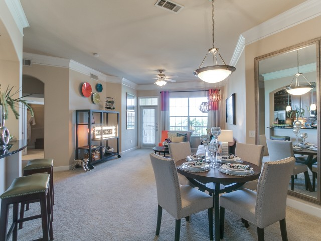 Living room at Cheval Apartment, Memorial Park, Houston