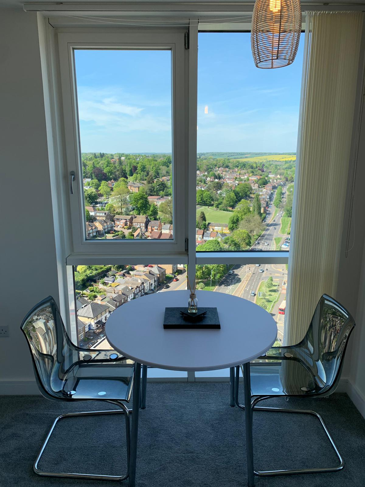 Dining table and view at KD Tower Serviced Apartments