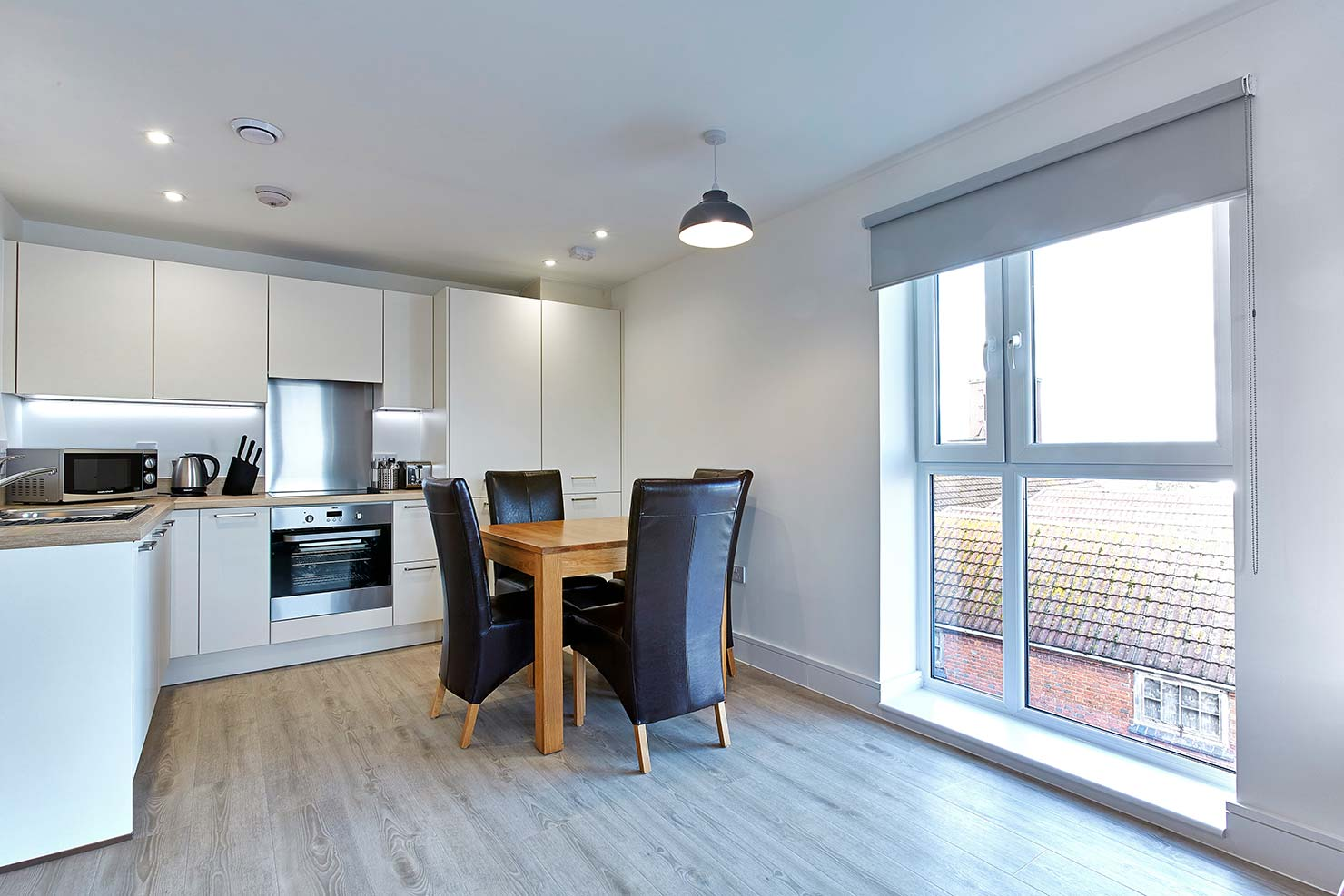 Bright kitchen area at Chapel Riverside Apartments