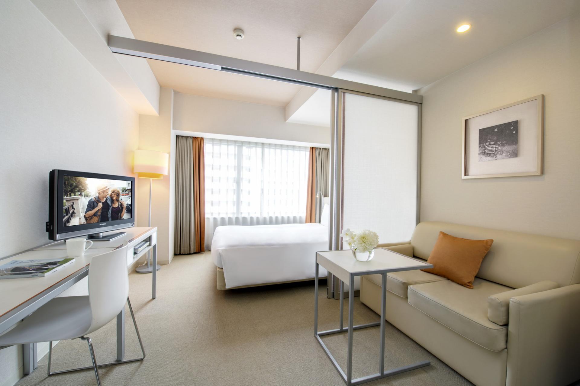 Living area at Citadines Karasuma-Gojo Kyoto Apartments