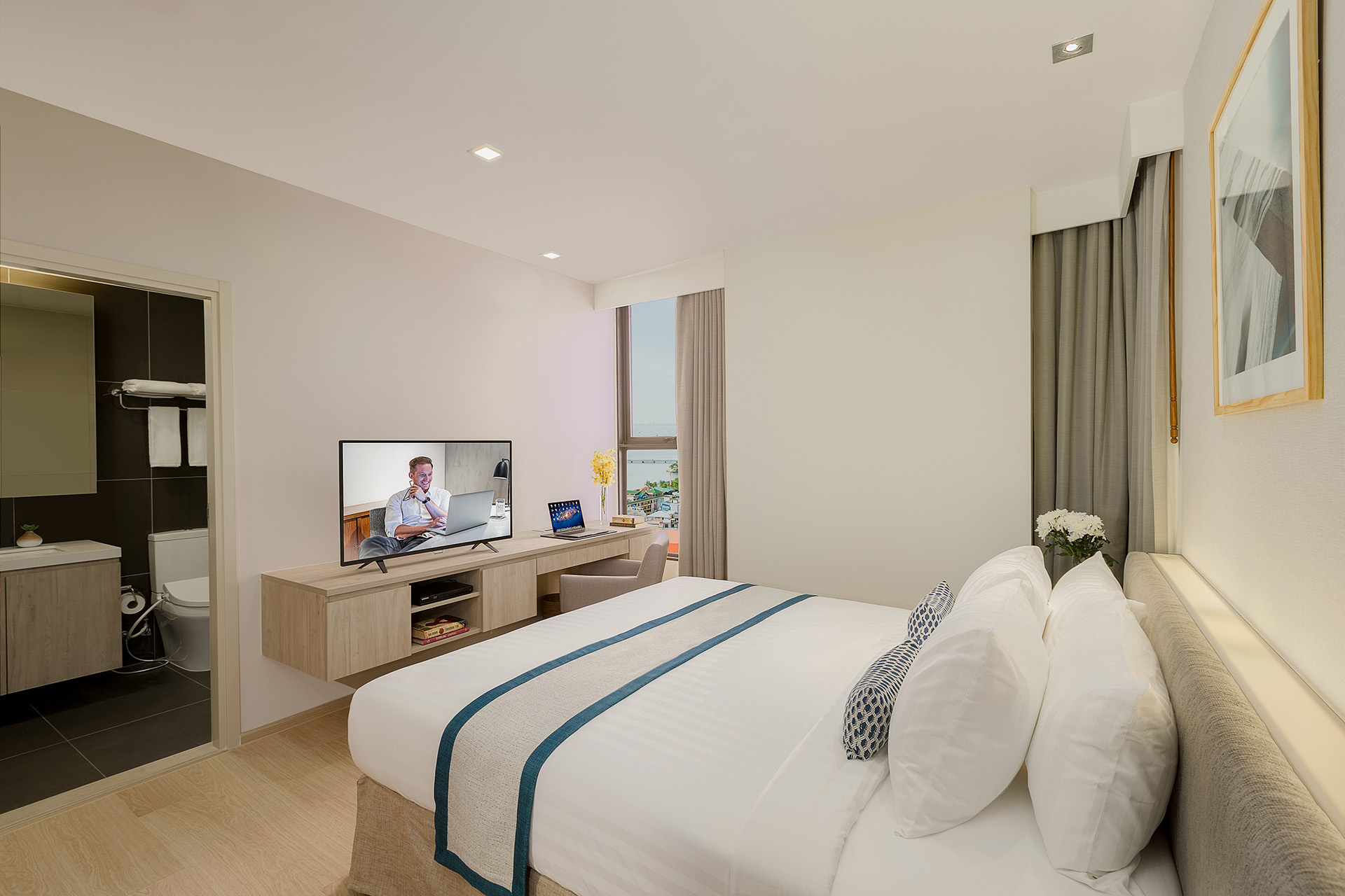 Bedroom in 2 bed at Somerset Harbourview Sri Racha Apartments