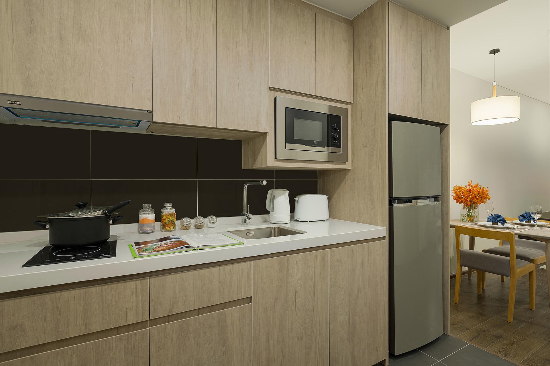 Kitchen at Somerset Harbourview Sri Racha Apartments