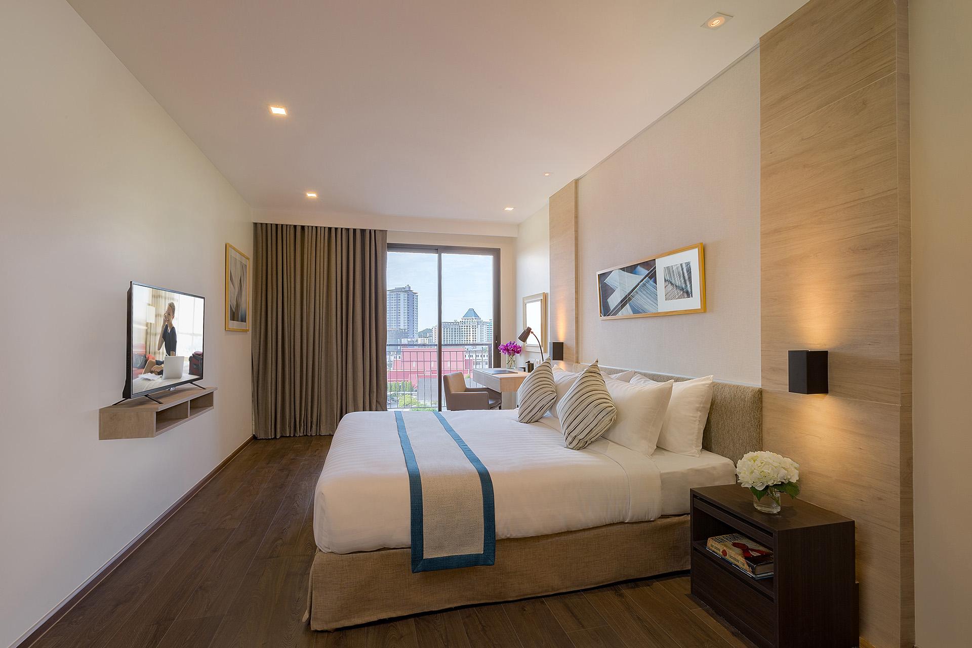 Bedroom in 1 bed exec at Somerset Harbourview Sri Racha Apartments