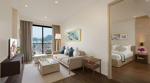 Living area in 1 bed exec at Somerset Harbourview Sri Racha Apartments