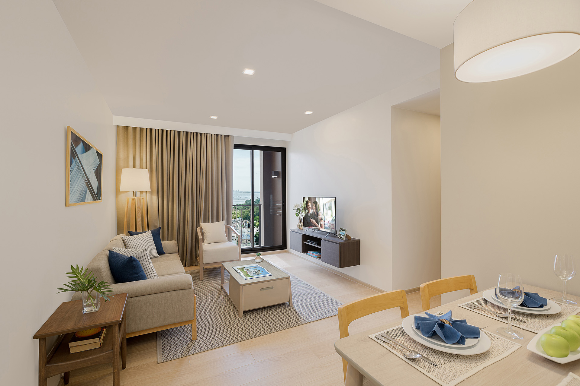 Living area in 2 bed exec at Somerset Harbourview Sri Racha Apartments
