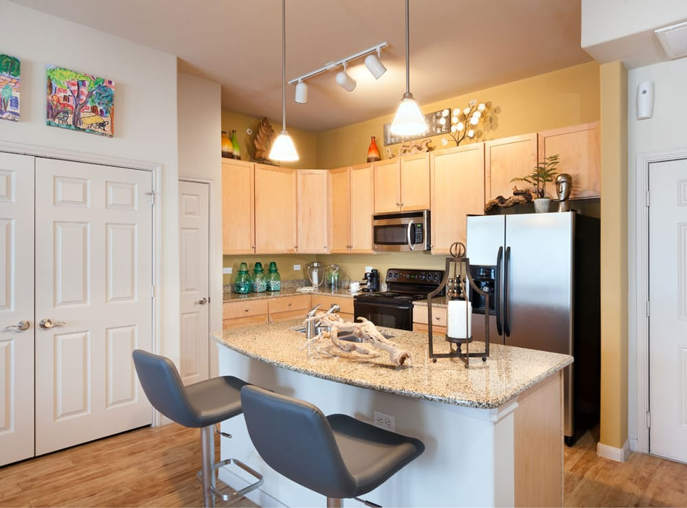 Kitchen at AMLI 300 Corporate Housing