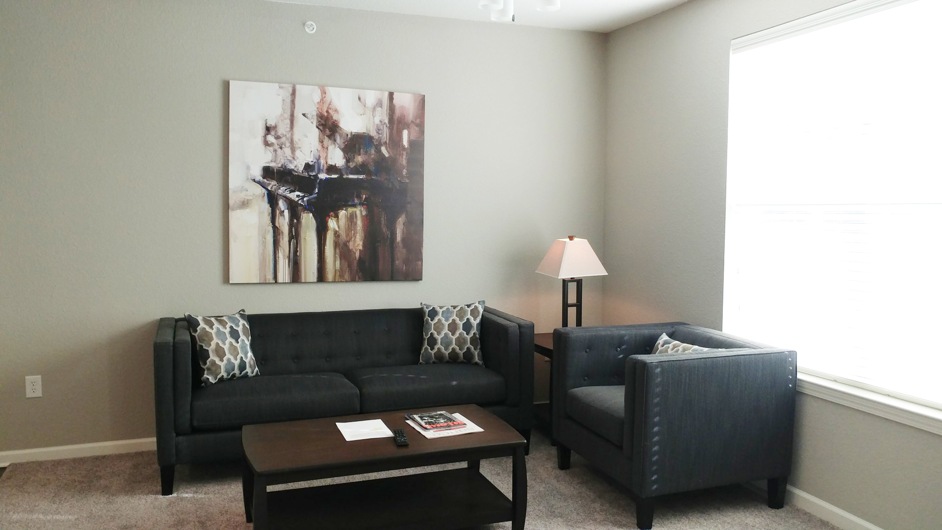 Living room at Watermark at Chesterfield Village Apartments