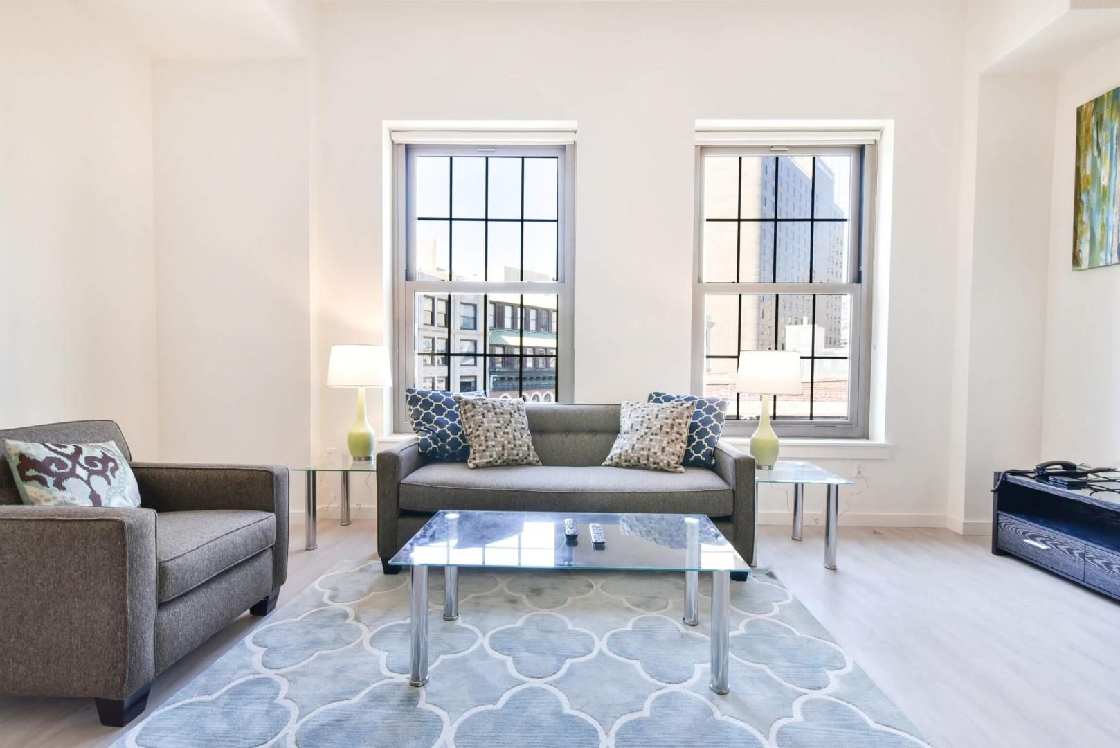 Living area at 8 Harrison Apartments, Centre, Boston