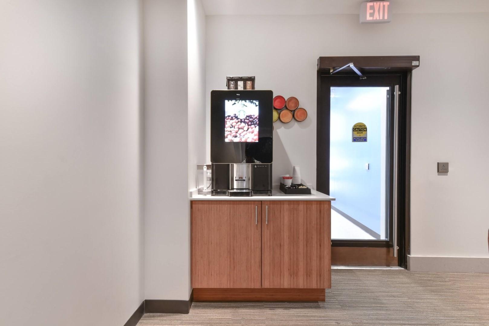 Coffee machine at 8 Harrison Apartments, Centre, Boston