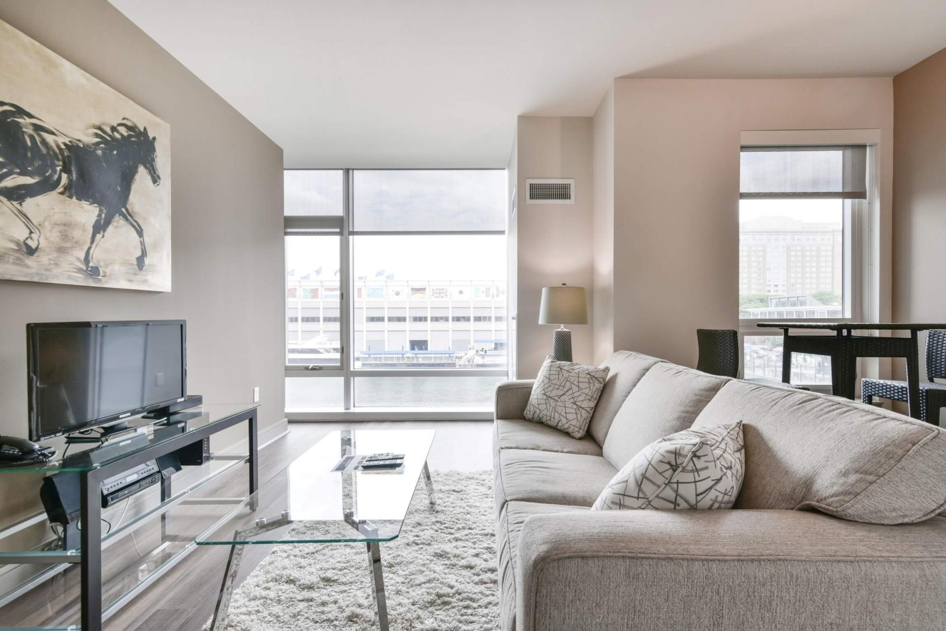 Living room at 100 Pier 4 Apartments, Fort Point, Boston
