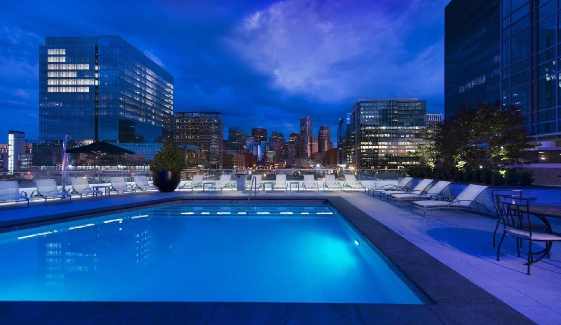 Pool at 100 Pier 4 Apartments, Fort Point, Boston
