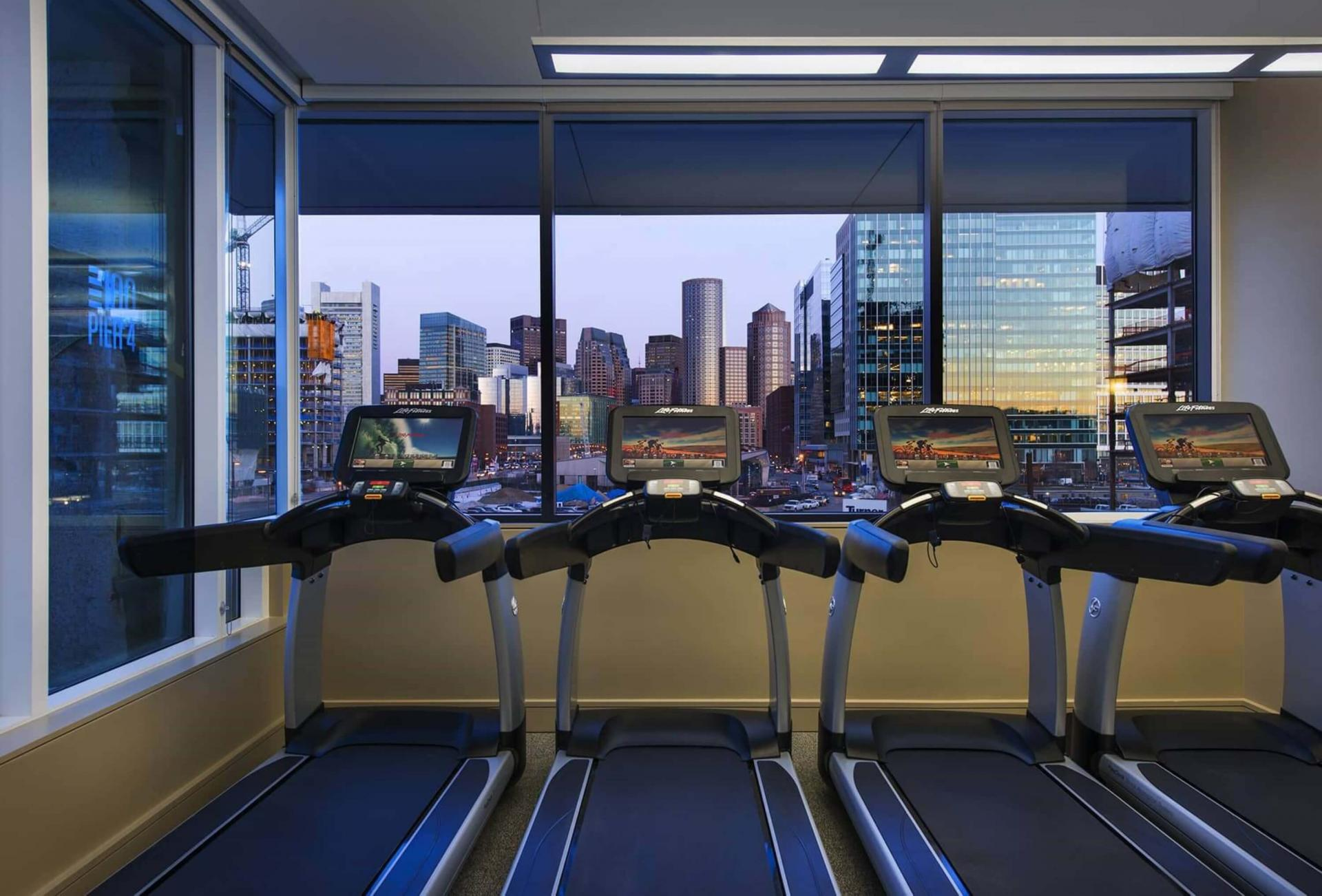 Gym at 100 Pier 4 Apartments, Fort Point, Boston