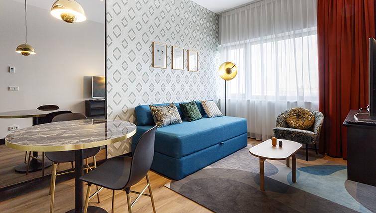Living area at Citadines Sloterdijk Station Apartments, Amsterdam