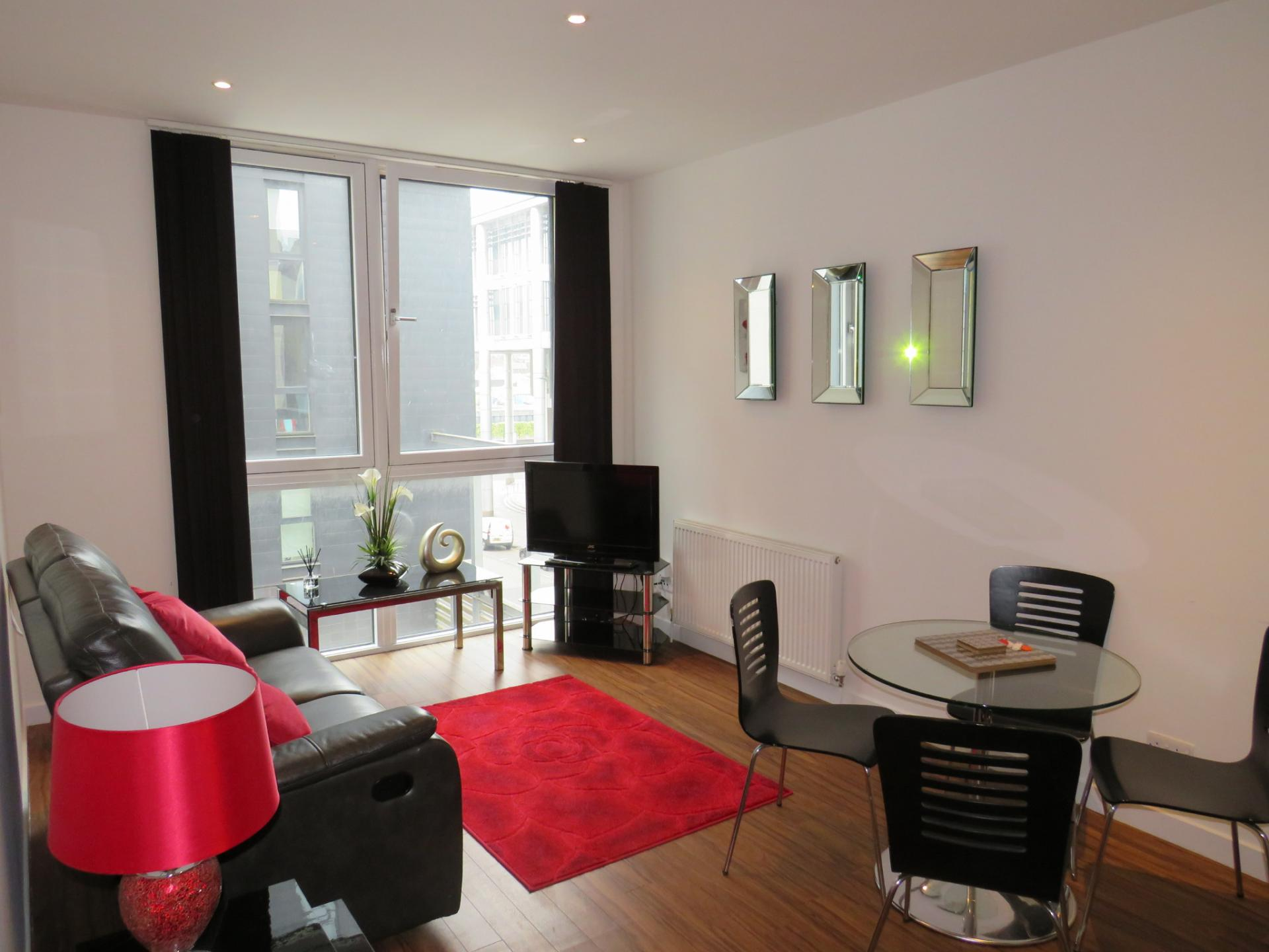 Bright lounge at Oswald Street Serviced Apartments