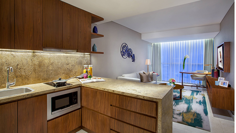 Modern kitchen at Ascott Sudirman Jakarta Apartments