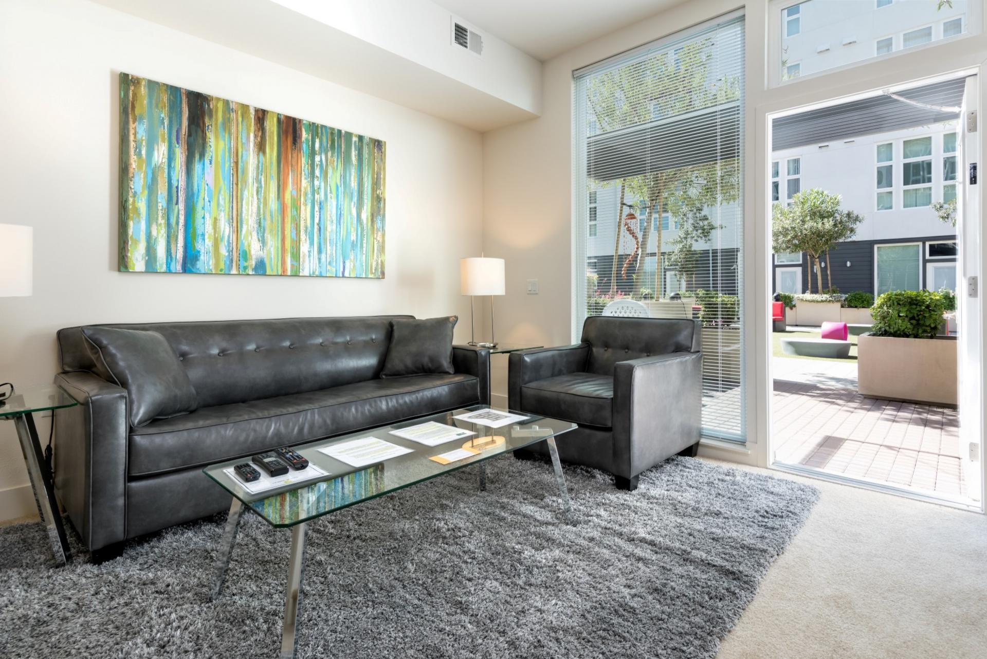 Sofa at The Domain Apartments, Renaisance, San Jose