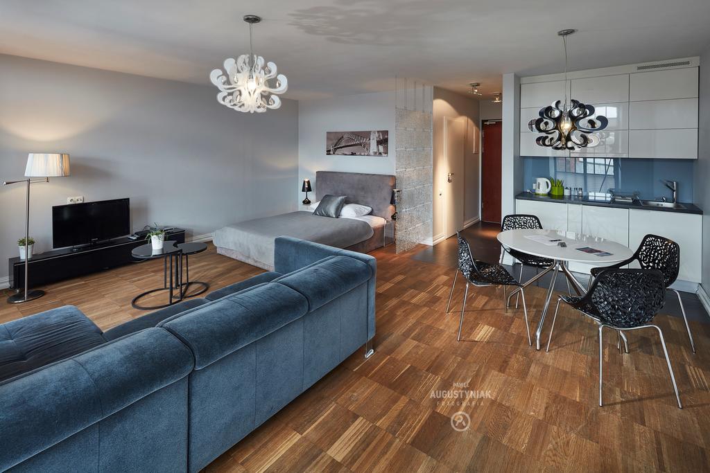 Spacious living area at Tymienieckiego Apartments
