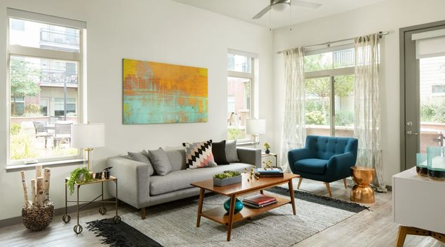 Living room at Griffis 3100 Pearl Apartment