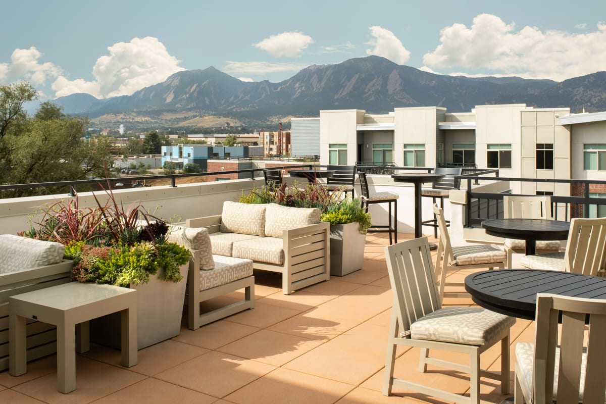 Terrace area at Griffis 3100 Pearl Apartment
