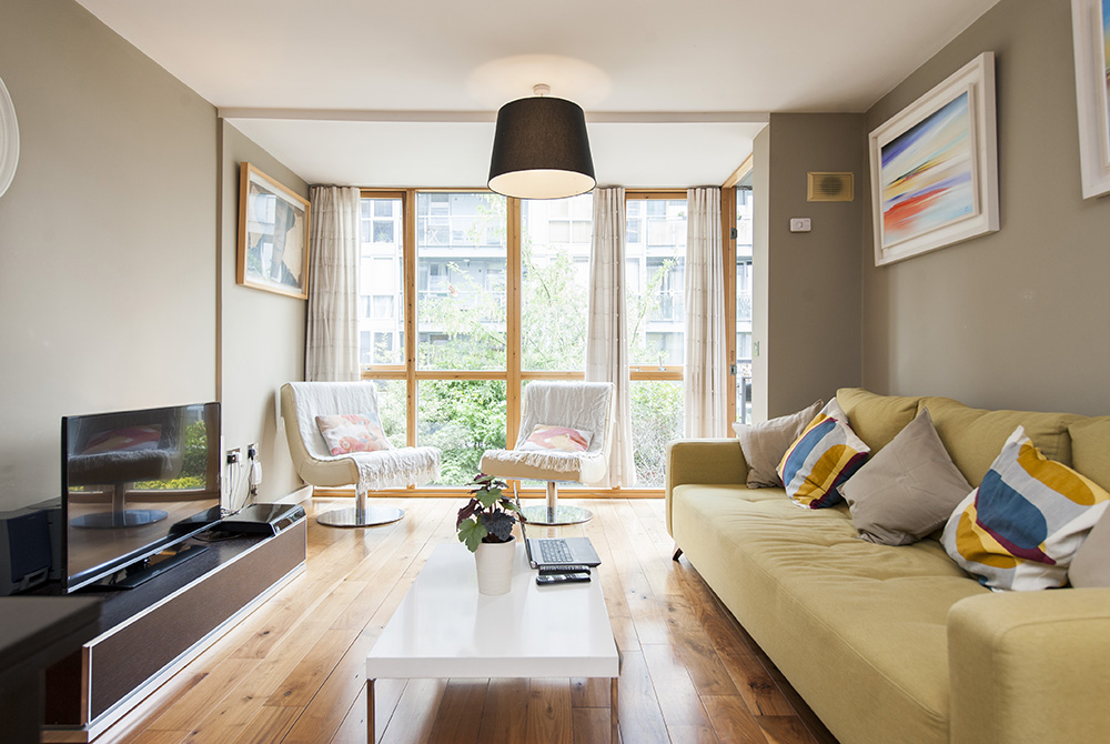 Living Room at The Dickens Serviced Apartment