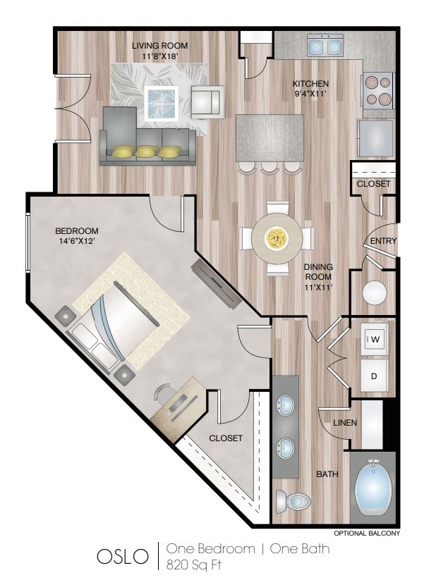 Floor plan 2 at Notting Hill Apartments