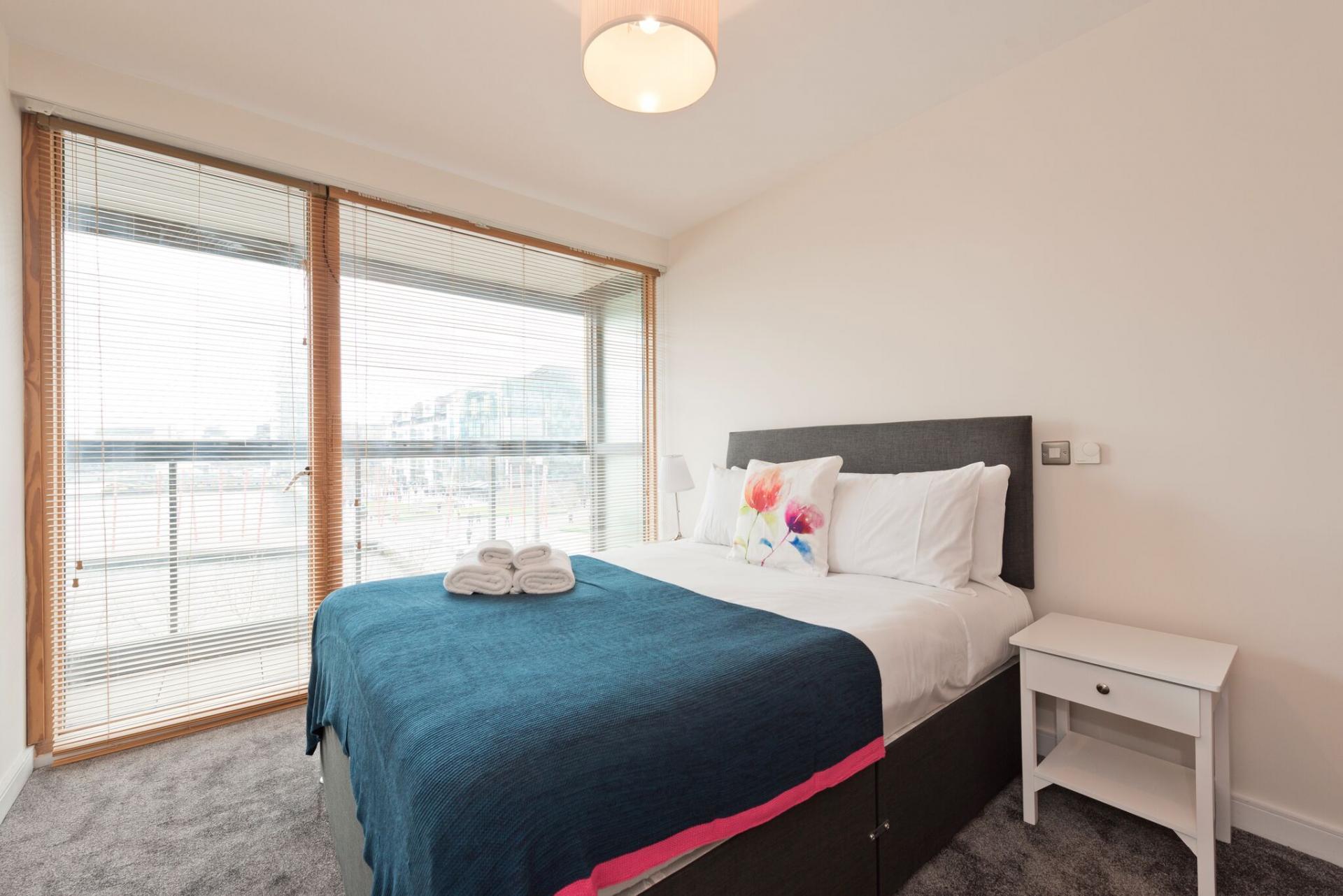 Bright bedroom at Hanover Dock Apartments