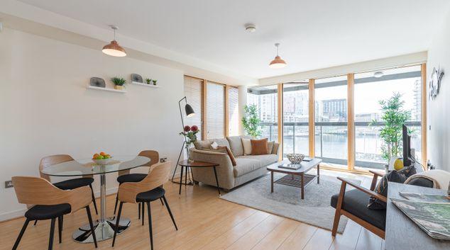 Large living area at Hanover Dock Apartments, North Wall, Dublin