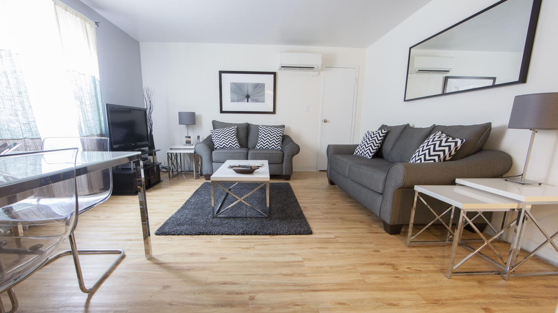 Living room at Shadyside Apartment