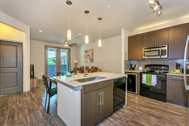 Kitchen at Elan City Lights Apartment