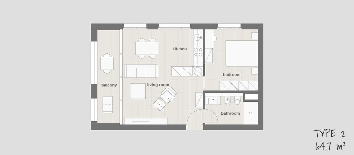 Floor plan 2 at Smart Living Lugano Apartments