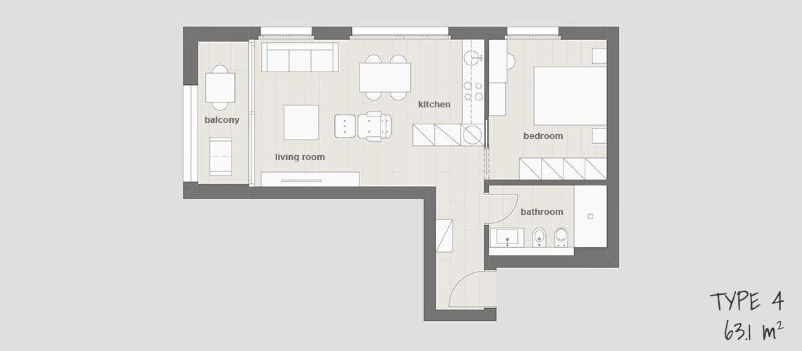 Floor plan 4 at Smart Living Lugano Apartments